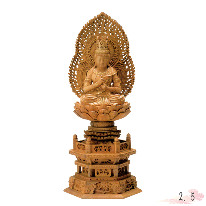 仏像 白檀 六角台座 大日如来 二重火炎光背 金泥書 2.5寸 仏具 仏教 本尊 仏壇 Butsuzo a Buddhist image a statue of Buddha