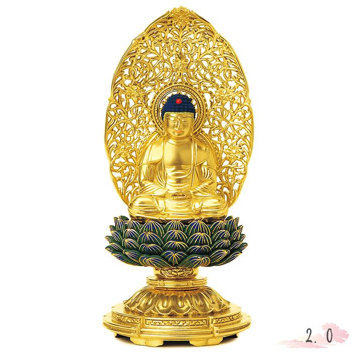 仏像 総木製 純金箔 平安丸台座 座釈迦 肌粉 青蓮華 唐草光背 2.0寸 仏具 仏教 本尊 仏壇 Butsuzo a Buddhist image a statue of Buddha
