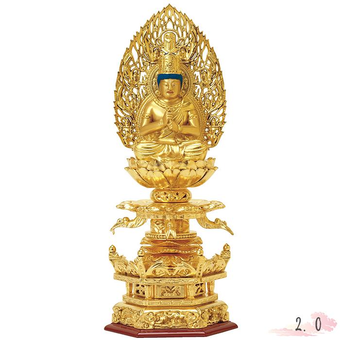 仏像 総木製 純金箔 京型 六角ケマン台座 大日如来 吹蓮花 飛天光背 2.0寸 金箔 仏具 仏教 本尊 仏壇 Butsuzo a Buddhist image a statue of Buddha