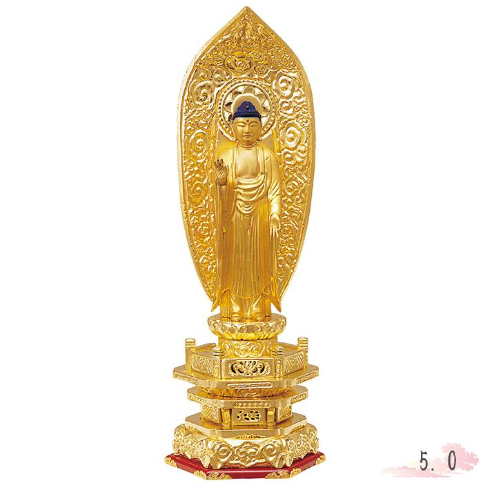 仏像 木製 純金箔 並京 舟立弥陀 肌粉 5.0寸 金箔 仏具 仏教 本尊 仏壇 Butsuzo a Buddhist image a statue of Buddha