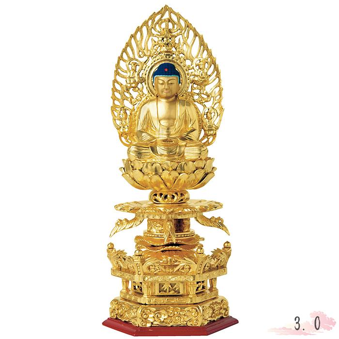仏像 総木製 純金箔 京型 六角ケマン台座 座釈迦 吹蓮花 飛天光背 3.0寸 金箔 仏具 仏教 本尊 仏壇 Butsuzo a Buddhist image a statue of Buddha