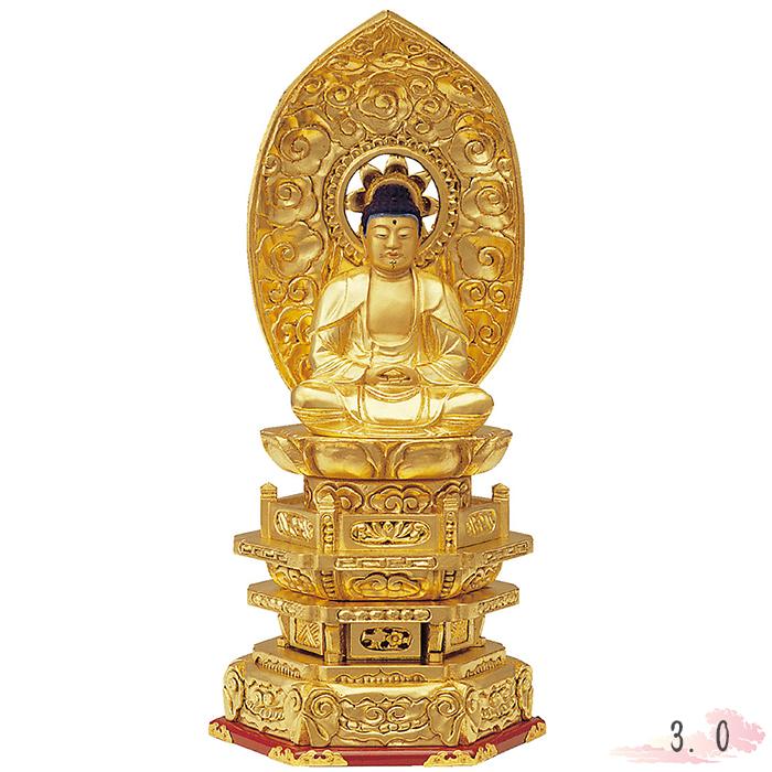 仏像 木製 純金箔 並京 座釈迦 肌粉 3.0寸 金箔 釈迦 シャカ 仏具 仏教 本尊 仏壇 Butsuzo a Buddhist image a statue of Buddha
