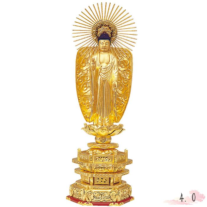 仏像 木製 純金箔 並京 西立弥陀 肌粉 4.0寸 金箔 仏具 仏教 本尊 仏壇 Butsuzo a Buddhist image a statue of Buddha