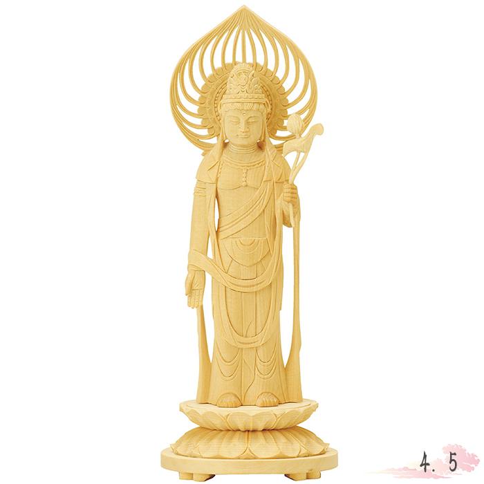 仏像 総白木 丸台座 聖観音 宝珠光背 4.5寸 仏具 仏教 本尊 仏壇 Butsuzo a Buddhist image a statue of Buddha