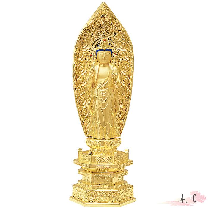 仏像 純金中七 聖観音 肌粉 4.0寸 仏具 仏教 本尊 仏壇 Butsuzo a Buddhist image a statue of Buddha