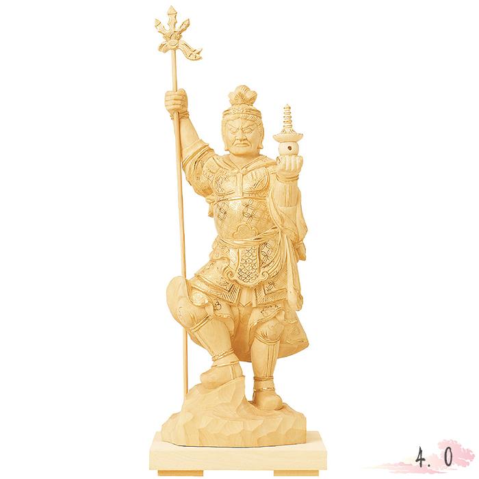 仏像 総柘植 毘沙門天 金泥書 4.0寸 仏具 仏教 本尊 仏壇 Butsuzo a Buddhist image a statue of Buddha