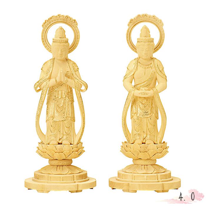 仏像 総柘植 丸台座 観音・勢至 輪光背 金泥書 4.0寸 仏具 仏教 本尊 仏壇 Butsuzo a Buddhist image a statue of Buddha