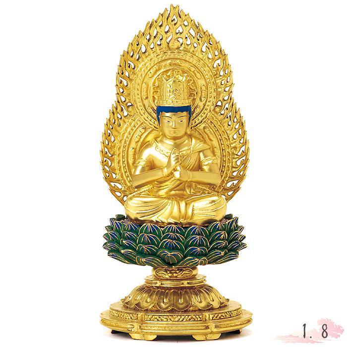 仏像 総木製 純金箔 平安丸台座 大日如来 肌粉 青蓮華 唐草光背 1.8寸 仏具 仏教 本尊 仏壇 Butsuzo a Buddhist image a statue of Buddha
