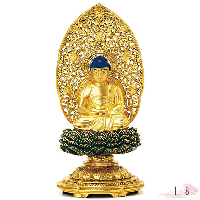仏像 総木製 純金箔 平安丸台座 座弥陀 肌粉 青蓮華 唐草光背 1.8寸 仏具 仏教 本尊 仏壇 Butsuzo a Buddhist image a statue of Buddha