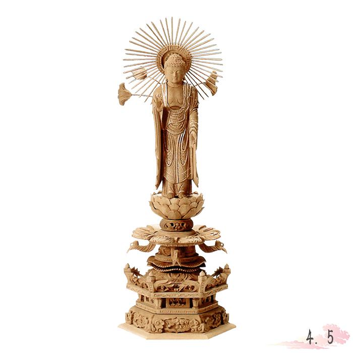 仏像 白檀 六角台座ケマン付 東立弥陀 金泥書 4.5寸 仏具 仏教 本尊 仏壇 Butsuzo a Buddhist image a statue of Buddha
