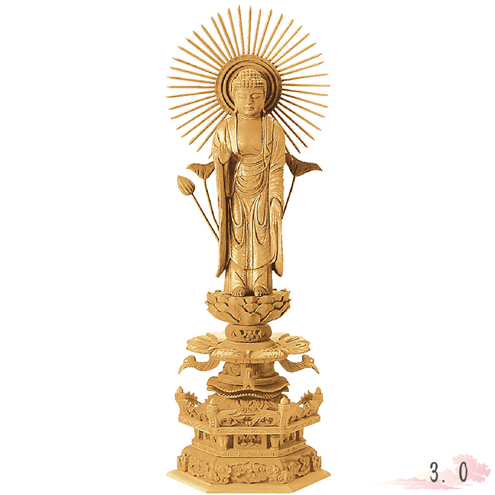 本尊 仏壇 of Buddhist statue 金泥書 仏具 地彫 Butsuzo 楠木 image 仏像 仏教 六角台座ケマン付 Buddha 東立弥陀 a a 3.0寸