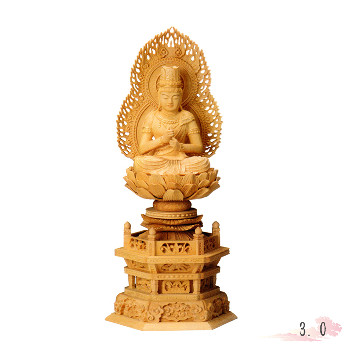 仏像 本柘植 六角台座 大日如来 火炎光背 金泥書 3.0寸 仏具 仏教 本尊 仏壇 Butsuzo a Buddhist image a statue of Buddha