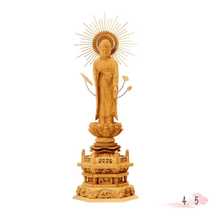 仏像 本柘植 六角台座 東立弥陀 東型光背 4.5寸 仏具 仏教 本尊 仏壇 Butsuzo a Buddhist image a statue of Buddha