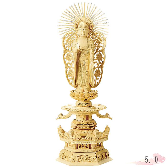 仏像 総白木 六角台座ケマン付 西立弥陀 金泥書 5.0寸 仏具 仏教 本尊 仏壇 Butsuzo a Buddhist image a statue of Buddha