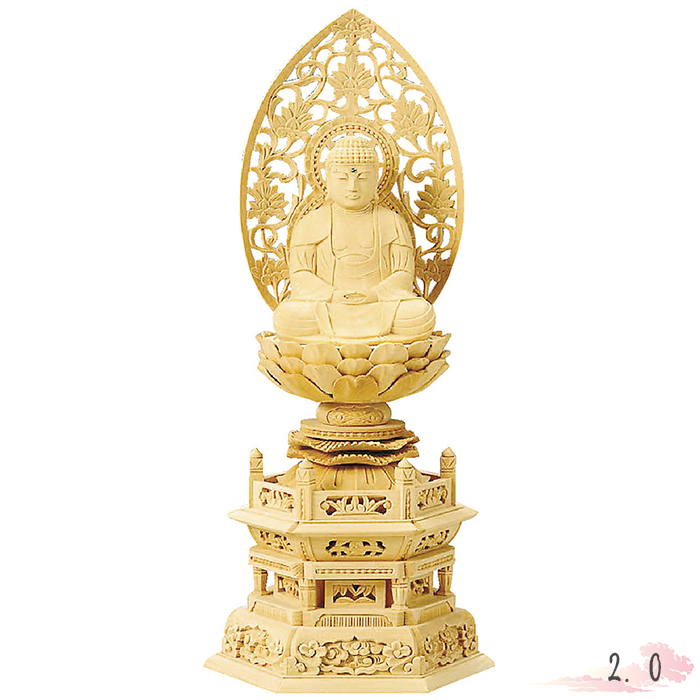 仏像 総白木 六角台座 座釈迦 2.0寸 仏具 仏教 本尊 仏壇 Butsuzo a Buddhist image a statue of Buddha