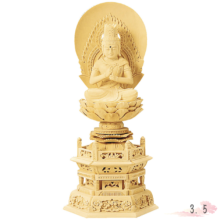 仏像 総白木 六角台座 大日如来 3.5寸 仏具 仏教 本尊 仏壇 Butsuzo a Buddhist image a statue of Buddha