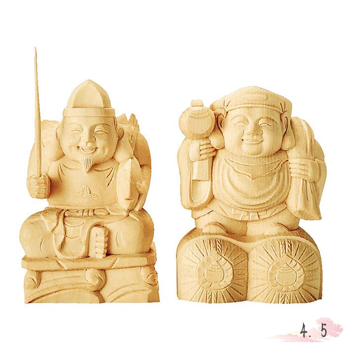 仏像 総白木 恵比寿・大黒天 4.5寸 仏具 仏教 本尊 仏壇 Butsuzo a Buddhist image a statue of Buddha