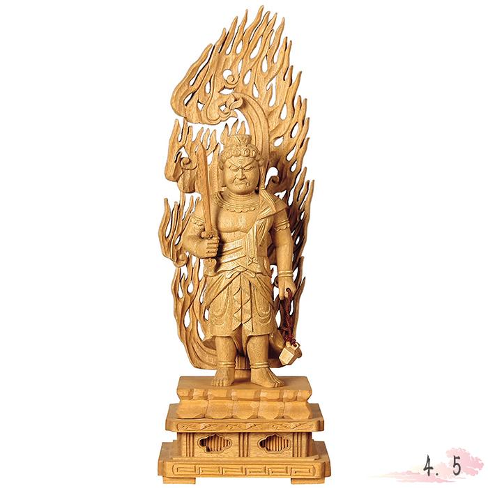仏像 楠木地彫 不動明王 金泥書 4.5寸 仏具 仏教 本尊 仏壇 Butsuzo a Buddhist image a statue of Buddha