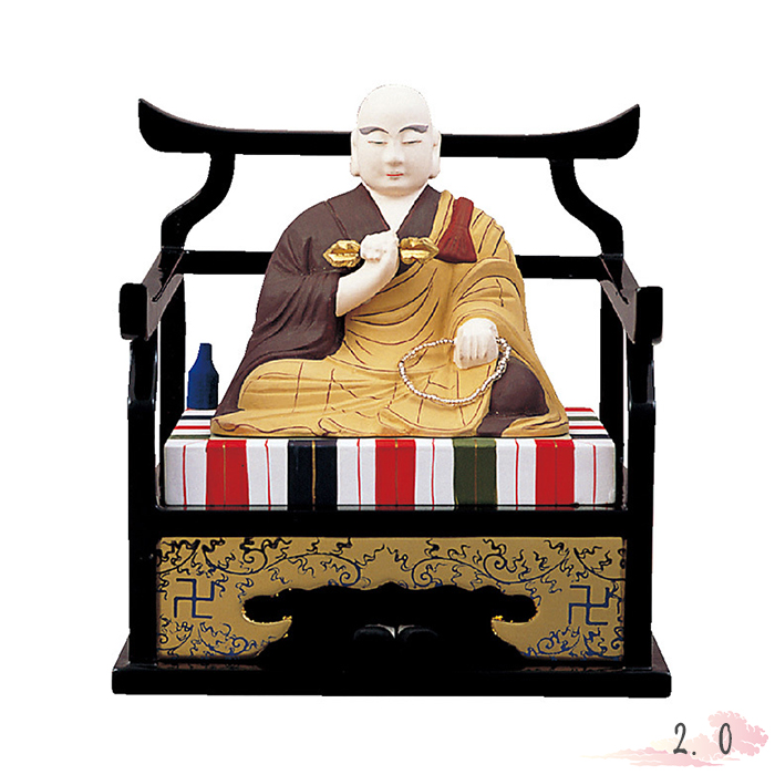 仏像 木製彩色 弘法大師 2.0寸 仏具 仏教 本尊 仏壇 Butsuzo a Buddhist image a statue of Buddha
