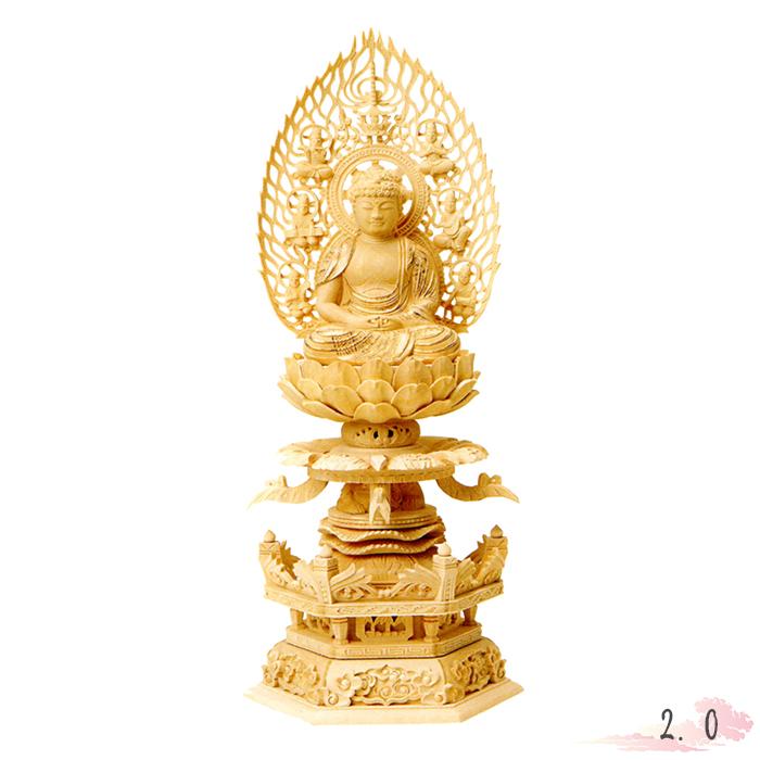 仏像 総柘植 六角ケマン 座弥陀 飛天光背 金泥書 2.0寸 仏具 仏教 本尊 仏壇 Butsuzo a Buddhist image a statue of Buddha