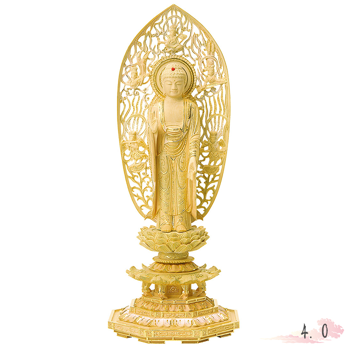 仏像 総柘植 切金淡彩 八角台座 舟立弥陀 飛天光背 4.0寸 仏具 仏教 本尊 仏壇 Butsuzo a Buddhist image a statue of Buddha