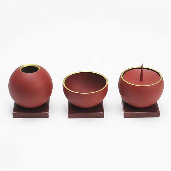 【モダン 三具足】小鞠 赤(レッド) 3点セット