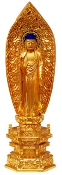 仏像 浄土宗 舟弥陀 5.5寸中七肌粉