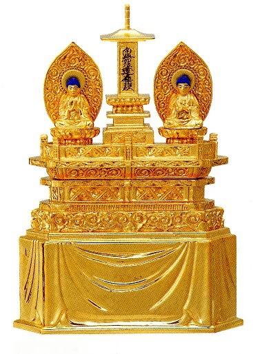 仏像 日蓮宗 三宝尊 1.2寸純金箔肌粉仕上げ