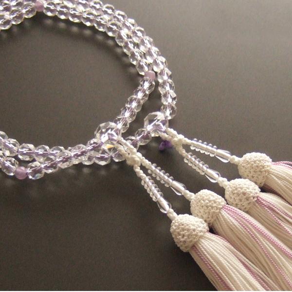 女性用二輪数珠 本水晶切子紫石英仕立・白色房