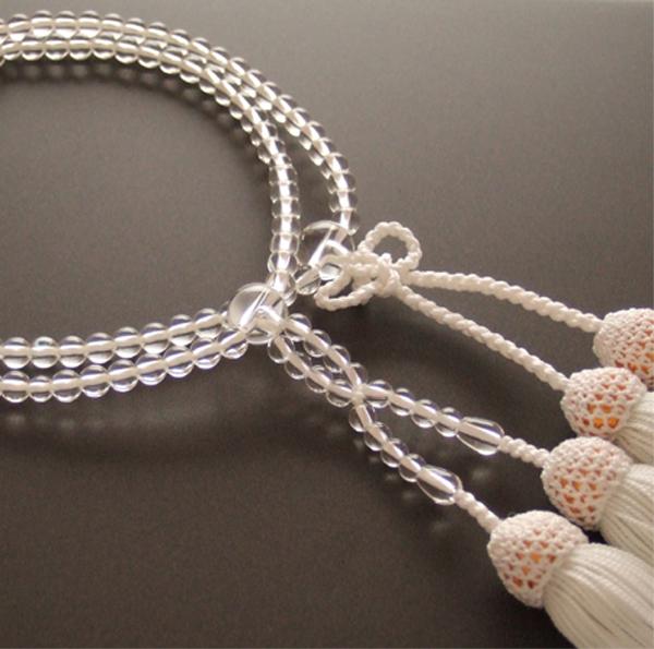 門徒(浄土真宗・真宗)用数珠 八寸 本水晶 共仕立 白房