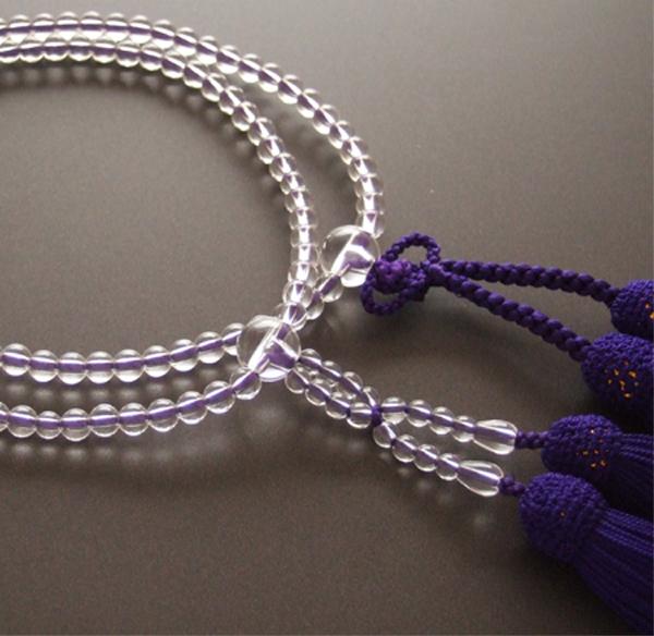 門徒(浄土真宗・真宗)用数珠 八寸 本水晶 共仕立 紫房