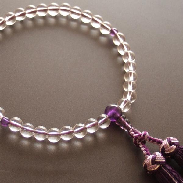 女性用一輪数珠 本水晶紫水晶仕立・銀花かがり房
