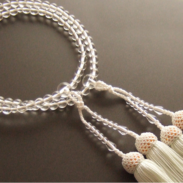 【送料無料】女性用二輪数珠 本水晶 正絹頭付房(白色)