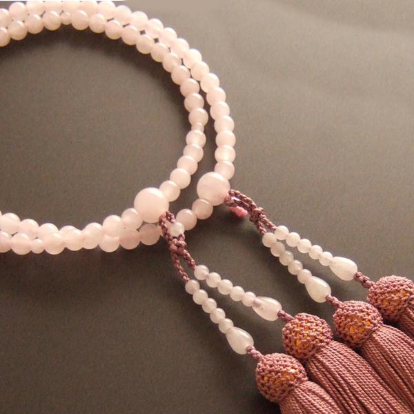 【送料無料】女性用二輪数珠 紅水晶 正絹頭付房(灰桜色)