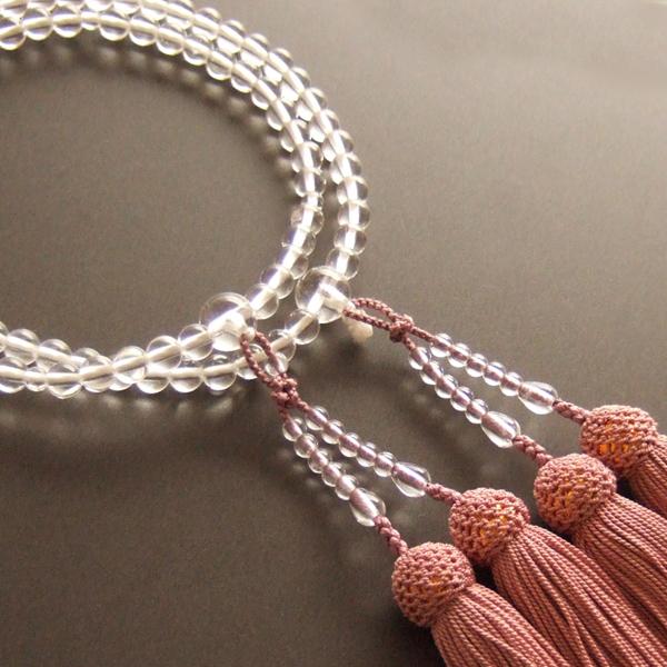 女性用二輪数珠 本水晶丸玉灰桜色房