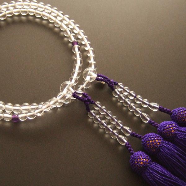 女性用二輪数珠 本水晶丸玉紫水晶仕立紫色房