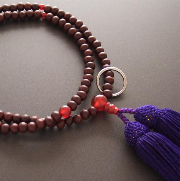 曹洞宗用のお念珠です 曹洞宗用数珠 八寸 紫丹 瑪瑙仕立 紫色房