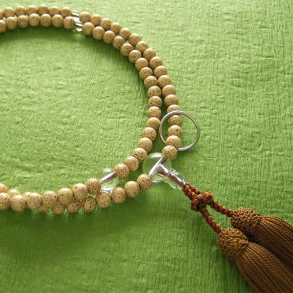 曹洞宗用数珠 尺二 星月菩提樹 水晶仕立 浜梨色房