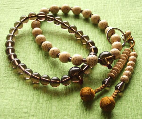 浄土宗・時宗用数珠 三万 茶水晶 星月菩提樹 輪違い 浜梨梵天
