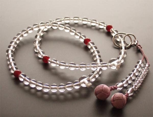 浄土宗・時宗用数珠 八寸 本水晶 瑪瑙仕立 深蘇芳梵天