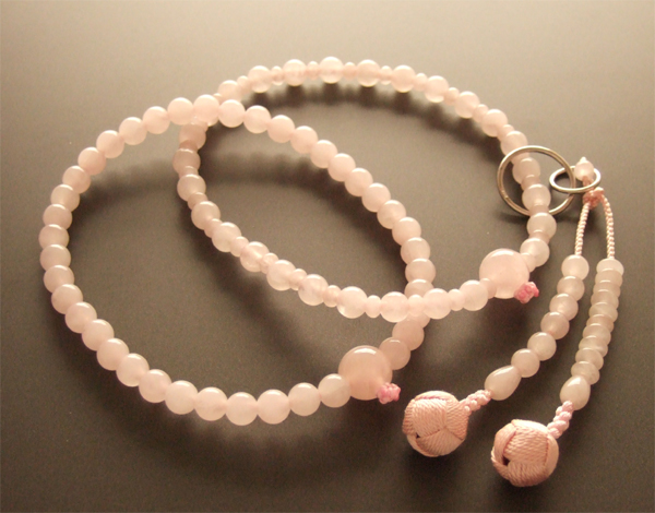 浄土宗・時宗用数珠 八寸 ローズクオーツ 共仕立 桃梵天