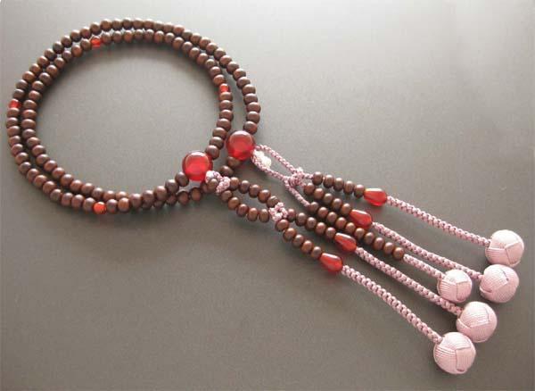 日蓮宗・法華宗用数珠 八寸 紫檀 瑪瑙仕立 深蘇芳梵天