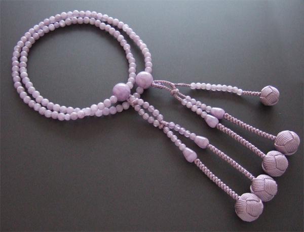 日蓮宗・法華宗用数珠 八寸 藤雲石 共仕立 京紫梵天