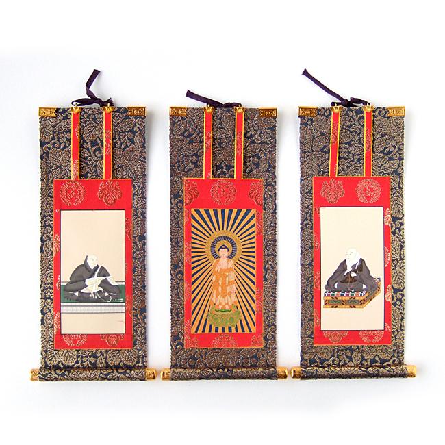 【送料無料】【掛軸】浄土真宗本願寺派(お西) 三幅セット 150代(長さ68cm)