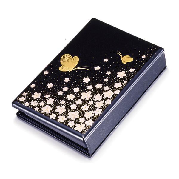 携帯仏壇 花と蝶 黒