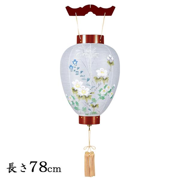 お盆 提灯・壺型(御所提灯)ワイン 絹張り手描き絵【送料無料】