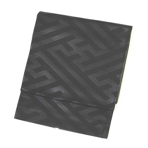 黒地緑地リバーシブル紗綾形地紋袋帯(正絹)