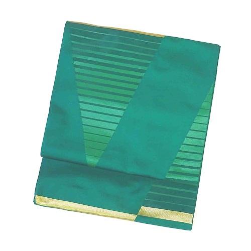 グリーン(緑)地三角柄袋帯(正絹)