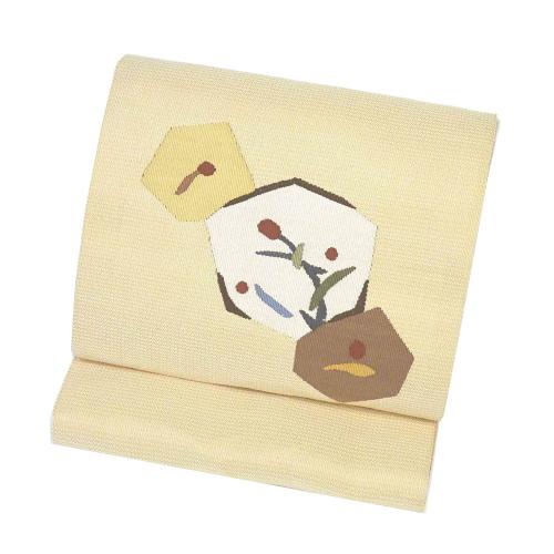 クリーム色系太鼓柄八寸帯(袋なごや帯)(正絹)