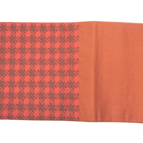 長尺タイプリバーシブル半巾帯(オレンジ系格子柄)(正絹)